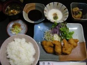 半田市 日本料理『浜潮』 大アサリのフライ定食