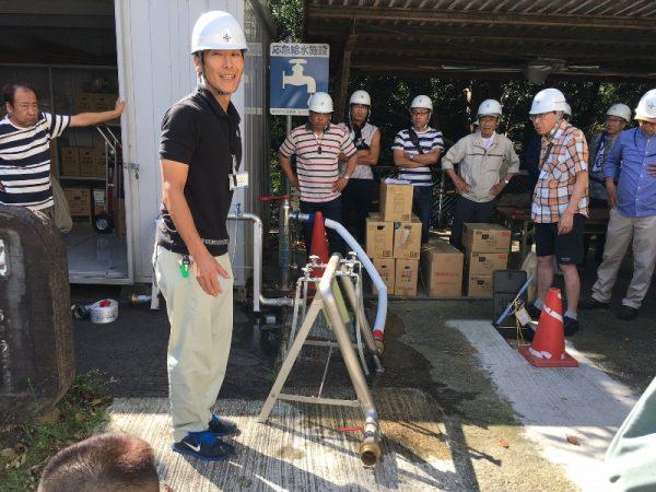 防災訓練 応急給水施設の説明