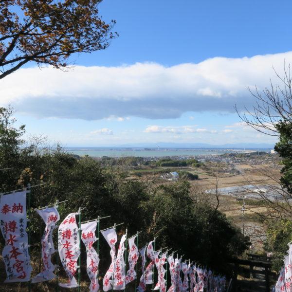 恒例の初詣 樽水本宮神社から見えるセントレア2021